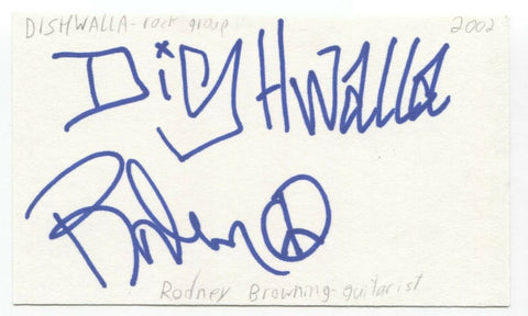 Dishwalla - Rodney Browning Cravens Signed 3x5 Index Card Autographed Signature