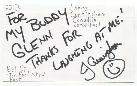 James Cunningham Signed 3x5 Index Card Autographed Signature Comedian Host