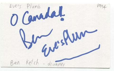 Eves Plum - Ben Kotch Signed 3x5 Index Card Autographed Signature