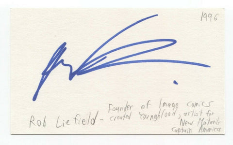 Rob Liefeld Signed 3x5 Index Card Autographed SUPER EARLY CAREER DEADPOOL Marvel