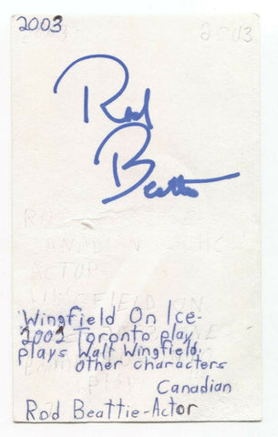 Rod Beattie Signed 3x5 Index Card Autographed Signature Actor