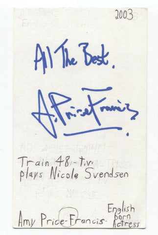 Amy Price-Francis Signed 3x5 Index Card Autographed Signature Actress