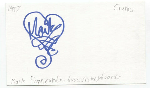 Cranes - Mark Francombe Signed 3x5 Index Card Autographed Signature Band