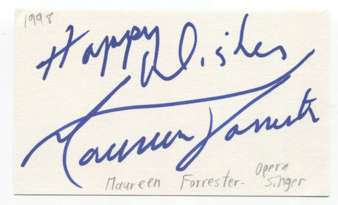 Maureen Forrester Signed 3x5 Index Card Autographed Signature Opera Singer