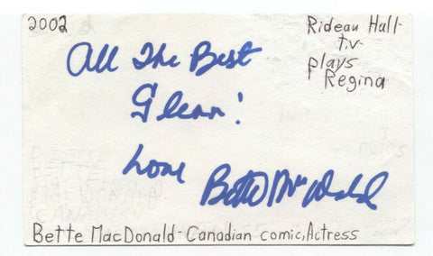 Bette MacDonald Signed 3x5 Index Card Autographed Signature Actress Comedian