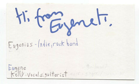 The Vaselines - Eugenius - Eugene Kelly Signed 3x5 Index Card Autographed