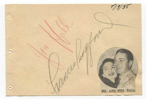 Jon Hall and Frances Langford Signed Album Page Vintage Autographed Signature