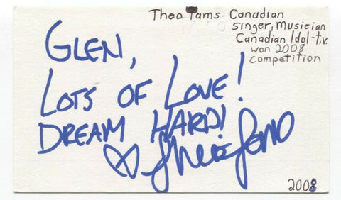 Theo Tams Signed 3x5 Index Card Autographed Signature Canadian Idol Singer