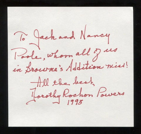 Dorothy Rochon Powers Signed Book Page Cut Autographed Cut Signature