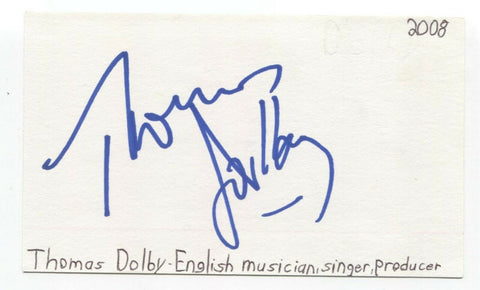Thomas Dolby Musician Signed 3x5 Index Card Autographed Signature Musician