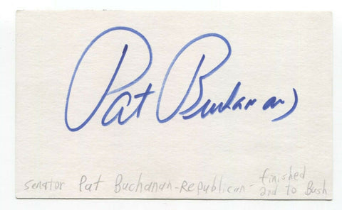 Pat Buchanan Signed 3x5 Index Card Autographed Signature Politician