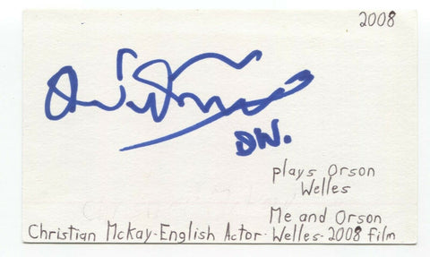 Christian McKay Signed 3x5 Index Card Autographed Signature Actor