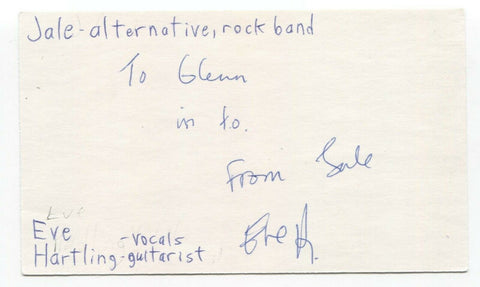Jale - Eve Hartling Signed 3x5 Index Card Autographed Signature Band