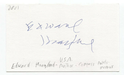 Edward Hoagland Signed 3x5 Index Card Autographed Signature Author Writer