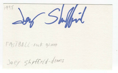 Fastball - Joey Shuffield Signed 3x5 Index Card Autographed Signature