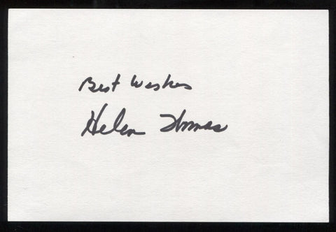 Helen Thomas Signed 4 x 6 Inch Index Card Vintage Autographed Signature
