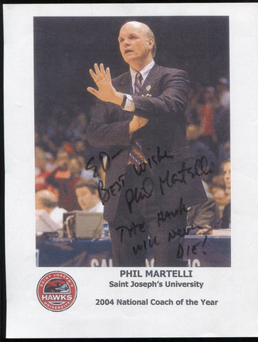 Phil Martelli Signed 8x10 Photo College NCAA Basketball Coach Autographed