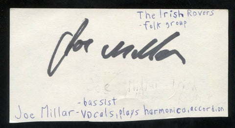The Irish Rovers - Joe Millar Signed Cut 3x5 Index Card Autographed Band