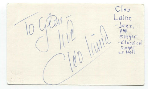 Cleo Laine Signed 3x5 Index Card Autographed Signature Singer