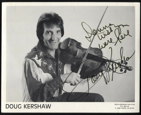 Doug Kershaw Signed 8 x 10 Inch Photo Vintage 2 Autographs Signature