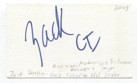 Zack Werner Signed 3x5 Index Card Autographed Signature Music Manager Producer