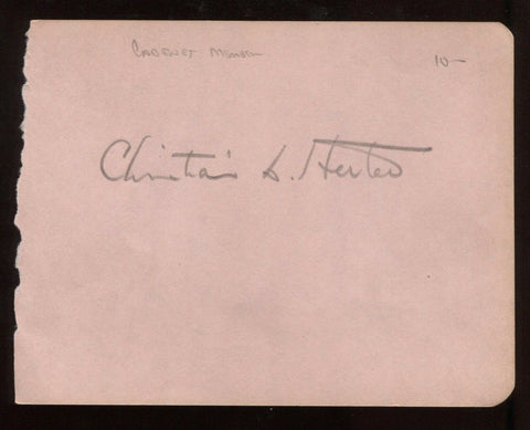 Christian Herter (d. 1966) Signed Album Page  Governor Autograph Secretary State