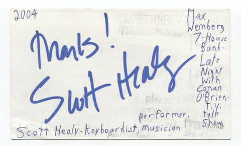 Scott Healy Signed 3x5 Index Card Autograph Signature Musician Pianist Conan