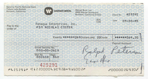 Nicolas Coster Signed Bank Check Autographed Signature Star Trek TNG Buck Rogers