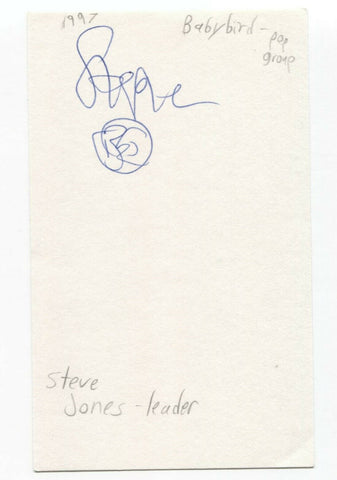Babybird - Stephen Jones Signed 3x5 Index Card Autographed Signature Steve Band
