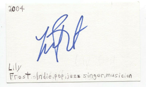 Lily Frost Signed 3x5 Index Card Autographed Signature Singer