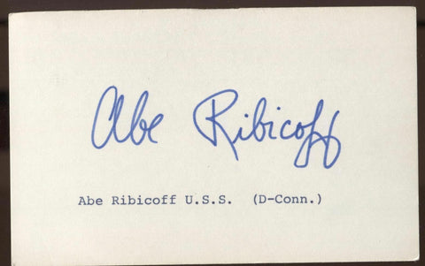 Abe Ribicoff Signed Index Card Autographed Signature AUTO United States Senator