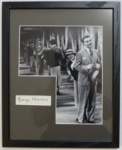 George Burns Vintage Signed Autograph Display Cut Signature Framed With Photo