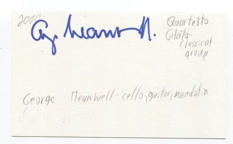 Quartetto Gelato - George Meanwell Signed 3x5 Index Card Autographed Signature