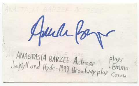 Anastasia Barzee Signed 3x5 Index Card Autographed Signature Actress