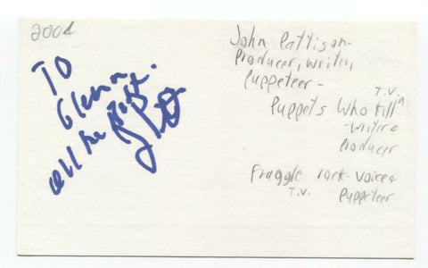 John Pattison Signed 3x5 Index Card Autographed Signature Producer Writer