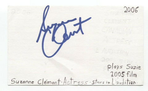 Suzanne Clement Signed 3x5 Index Card Autographed Signature Actress