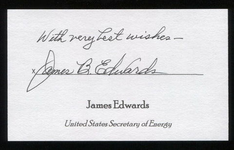 James Edwards Signed 3x5 Index Card Autographed Signature Secretary of Energy