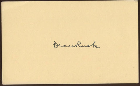 Dean Rusk Signed Index Card Autographed Signature AUTO Secretary of State