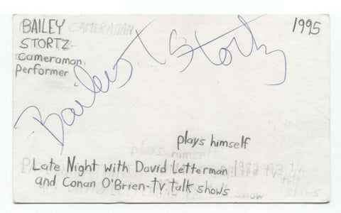 Bailey Stortz Signed 3x5 Index Card Autographed Cameraman David Letterman Show