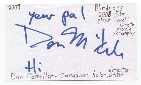 Don McKellar Signed 3x5 Index Card Autographed Signature Director Actor