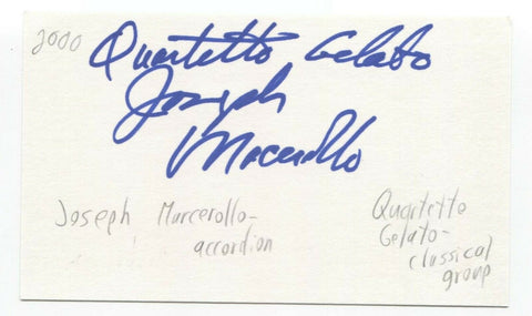 Quartetto Gelato - Joseph Macerollo Signed 3x5 Index Card Autographed Signature