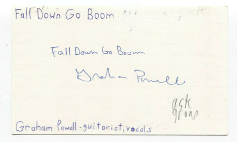 Fall Down Go Boom - Graham Powell Signed 3x5 Index Card Autographed Signature