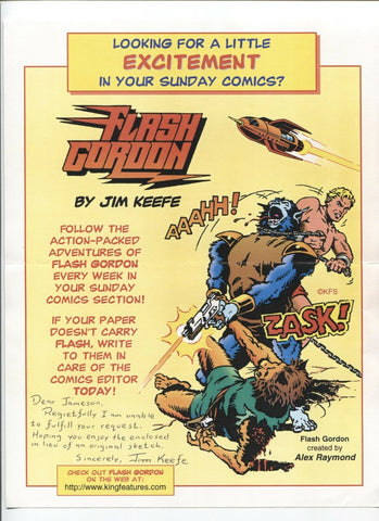 JIm Keefe Signed Comic Strip Copy Autographed Signature Cartoonist Flash Gordon