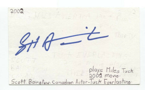 Scott Bairstow Signed 3x5 Index Card Autographed Actor Signature Party of Five