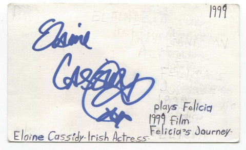 Elaine Cassidy Signed 3x5 Index Card Autographed Signature Actress