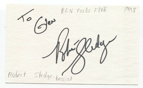Ben Folds Five - Robert Sledge Signed 3x5 Index Card Autographed Signature
