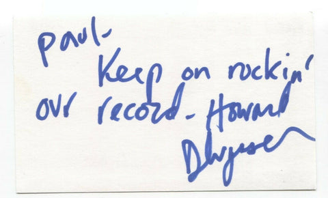 Elwood - Howard Dlugash Signed 3x5 Index Card Autographed Signature Band