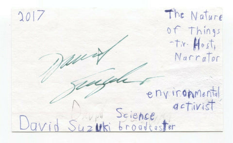David Suzuki Signed 3x5 Index Card Autographed Signature The Nature of Things