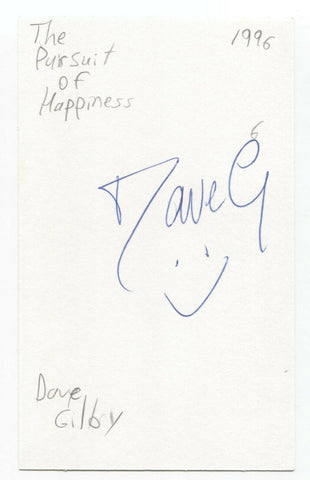 The Pursuit of Happiness - Dave Gilby Signed 3x5 Index Card Autographed Band