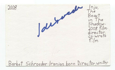 Barbet Schroeder Signed 3x5 Index Card Autographed Director Single White Female